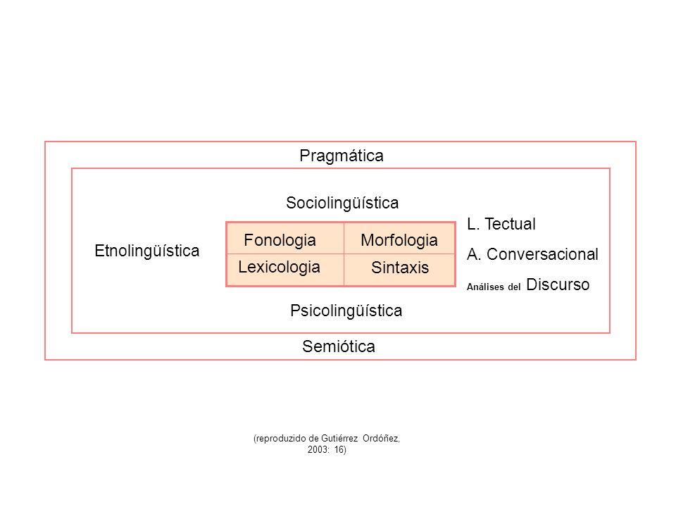 Pragmática Etnolingüística L. Tectual A. Conversacional Análises del Discurso Psicolingüística Sociolingüística Semiótica Fonologia Lexicologia Morfol