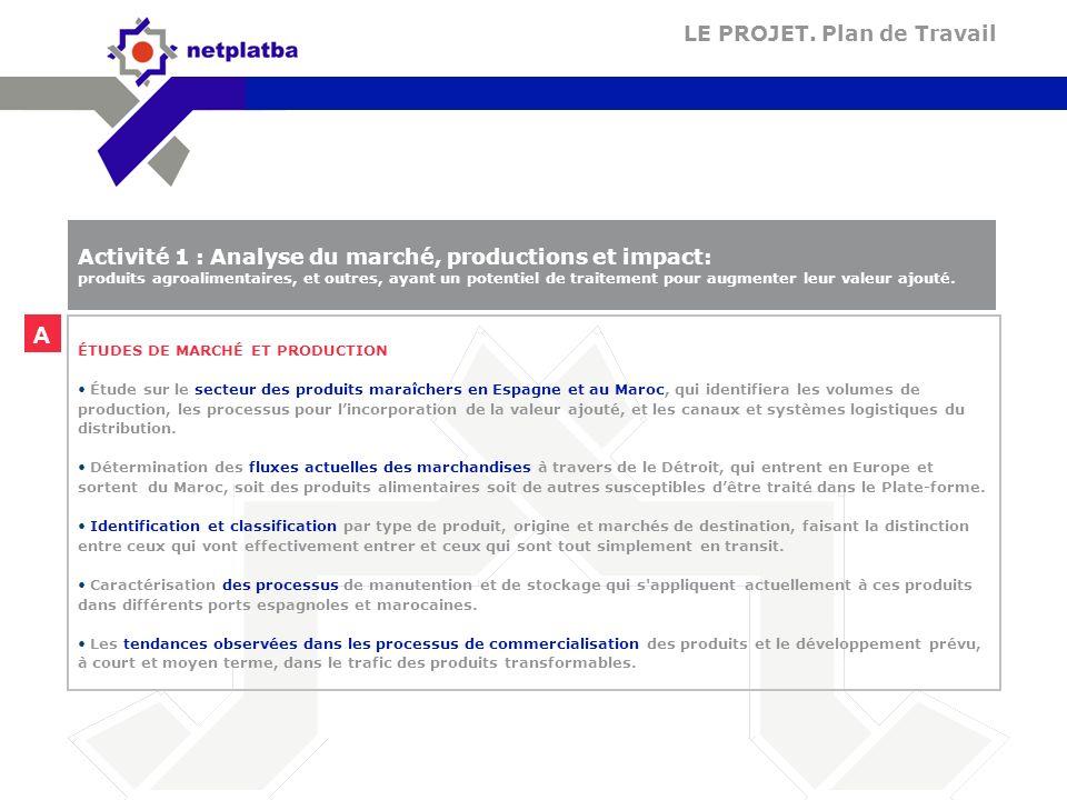 A ÉTUDES DE MARCHÉ ET PRODUCTION Étude sur le secteur des produits maraîchers en Espagne et au Maroc, qui identifiera les volumes de production, les p