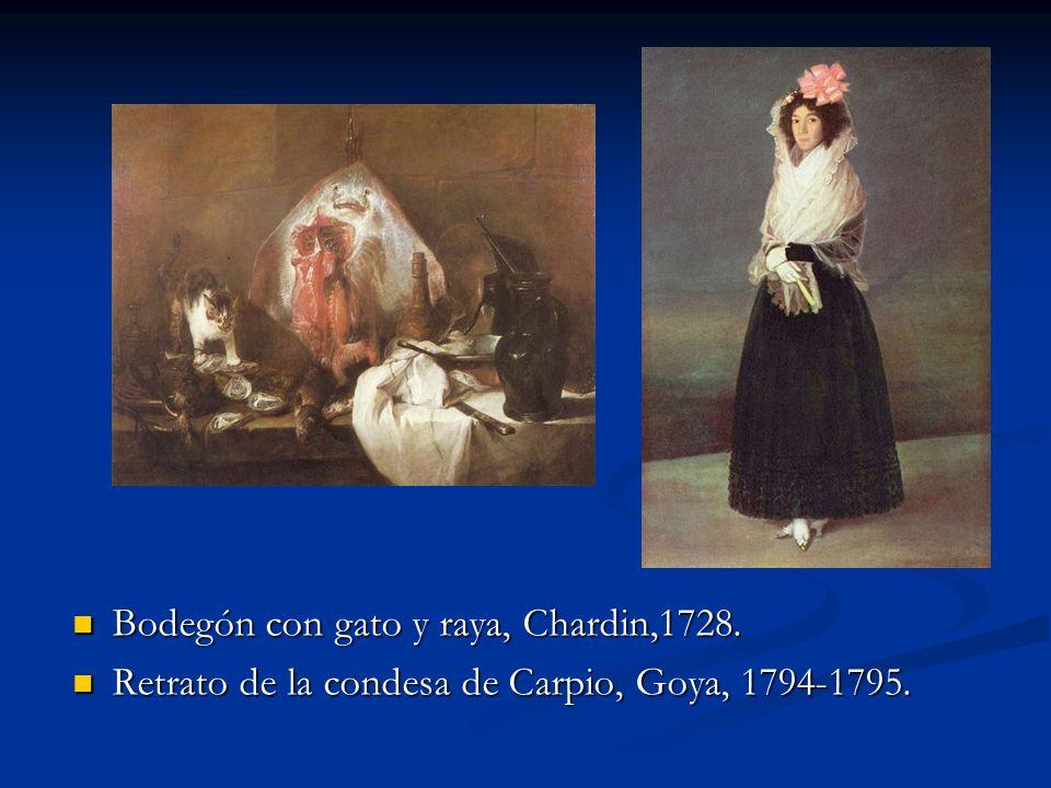 Bodegón con gato y raya, Chardin,1728. Retrato de la condesa de Carpio, Goya, 1794-1795.