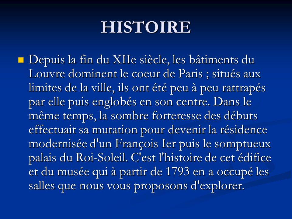 HISTOIRE Depuis la fin du XIIe siècle, les bâtiments du Louvre dominent le coeur de Paris ; situés aux limites de la ville, ils ont été peu à peu ratt