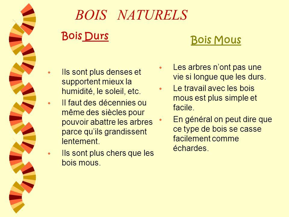 TYPES DE BOIS TYPES DE BOIS Bois naturels Bois préfabriqués Bois durs Bois mous DM Aggloméré Contreplaqué