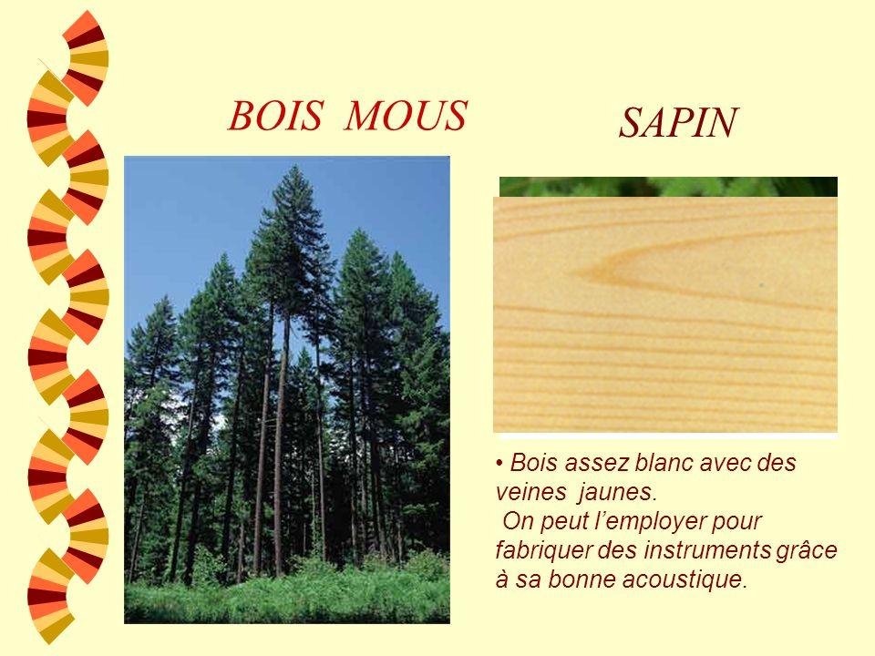 BOIS NATURELS Bois Durs w Ils sont plus denses et supportent mieux la humidité, le soleil, etc. w Il faut des décennies ou même des siècles pour pouvo