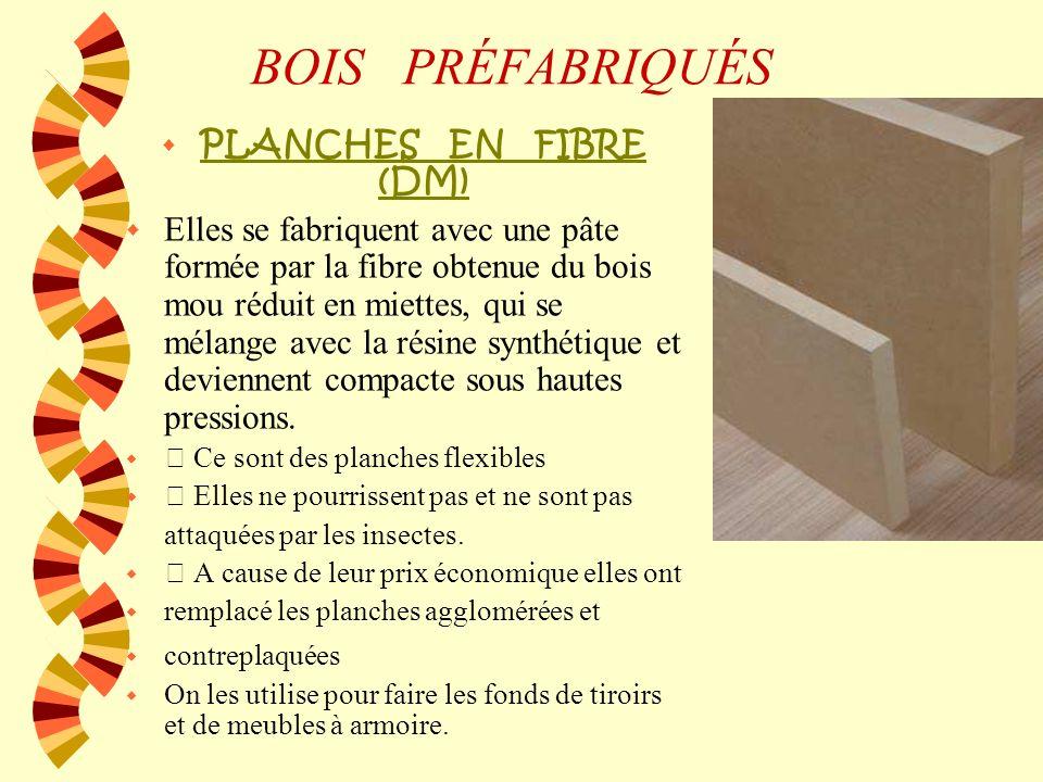 BOIS PRÉFABRIQUÉS AGGLOMERÉ Désigne tout bois fabriqué à partir de particules de bois (des copeaux, qui procèdent généralement de résidus de branches,