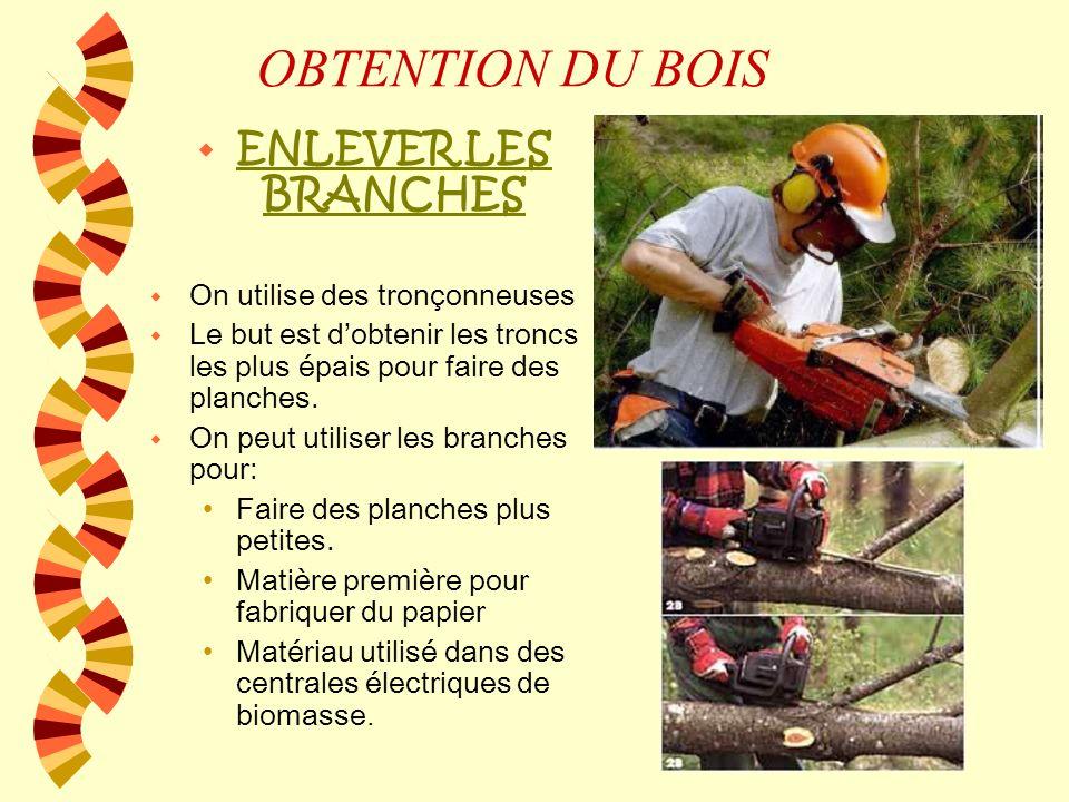 OBTENTION DU BOIS w ENLEVER LES BRANCHES w On utilise des tronçonneuses w Le but est dobtenir les troncs les plus épais pour faire des planches.