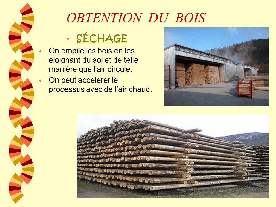 OBTENTION DU BOIS w SÉCHAGE w On empile les bois en les éloignant du sol et de telle manière que lair circule.
