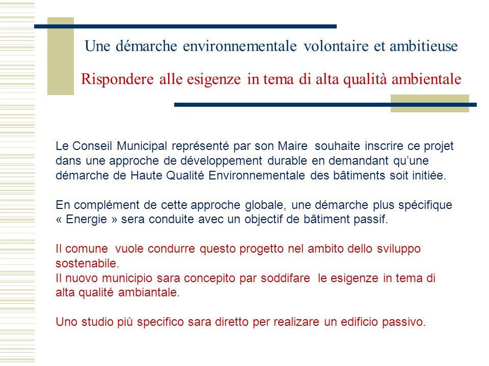 Une démarche environnementale volontaire et ambitieuse Rispondere alle esigenze in tema di alta qualità ambientale Le Conseil Municipal représenté par