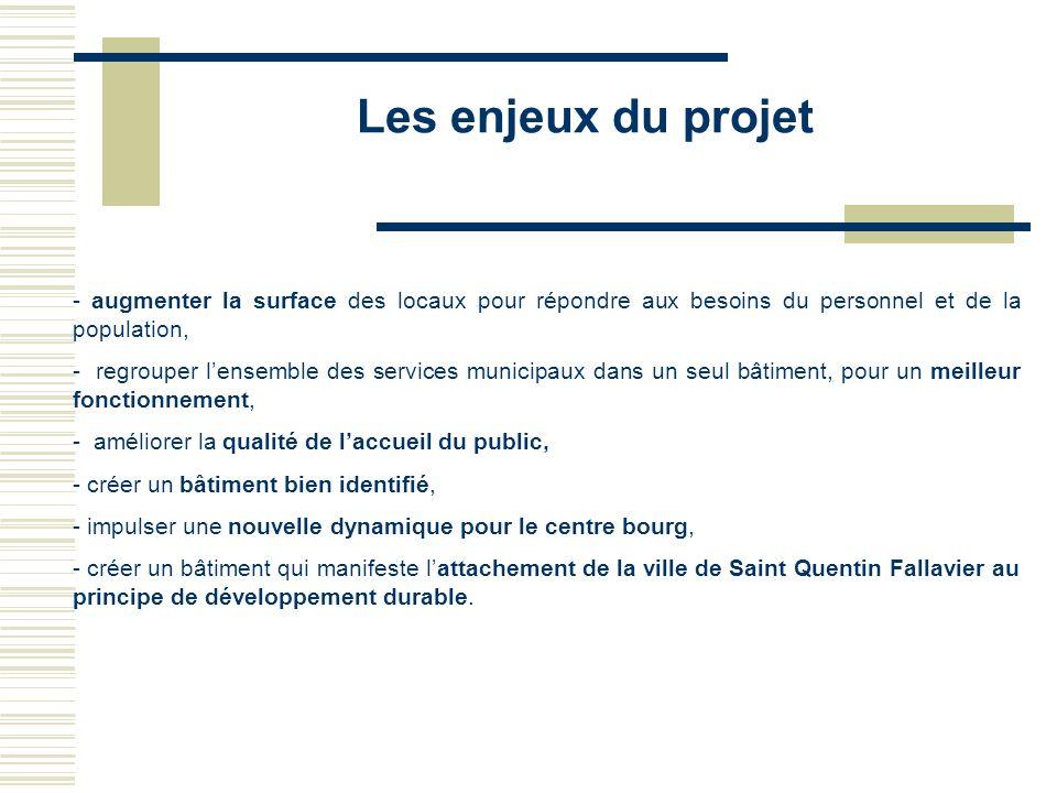 Les enjeux du projet - augmenter la surface des locaux pour répondre aux besoins du personnel et de la population, - regrouper lensemble des services