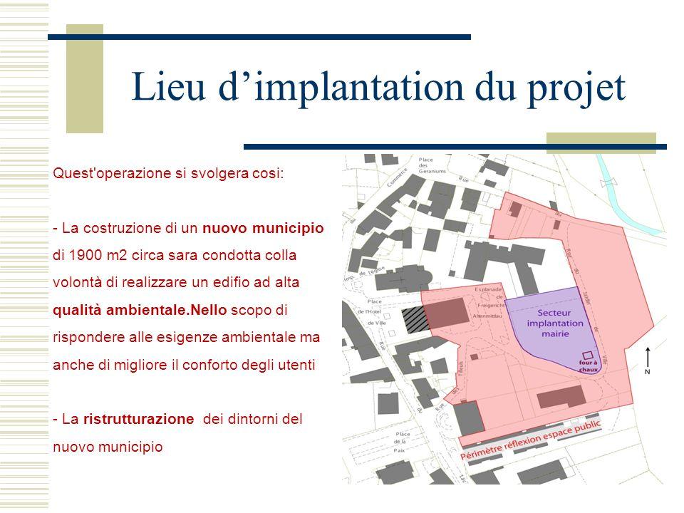 Quest'operazione si svolgera cosi: - La costruzione di un nuovo municipio di 1900 m2 circa sara condotta colla volontà di realizzare un edifio ad alta