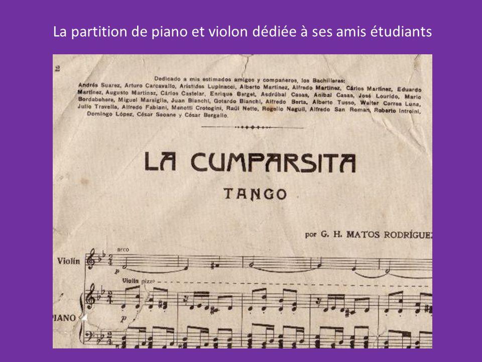 Gerardo Matos Rodriguez présenta sa partition au maestro Roberto Firpo en tournée à Montevideo qui accepta de linterpréter et par la suite révisa puis