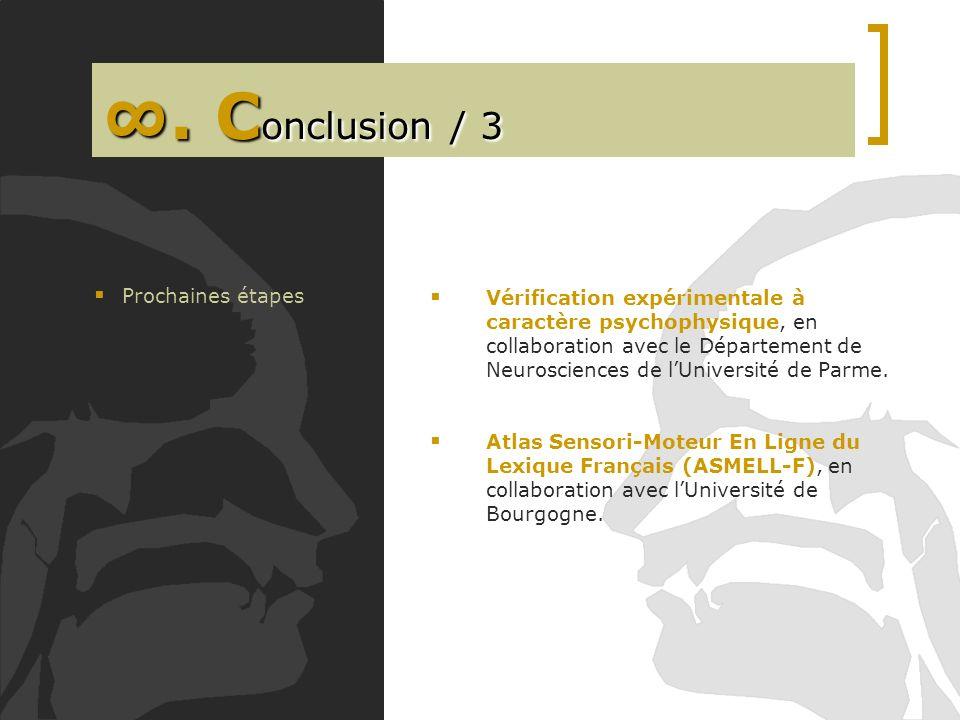 . C onclusion / 3 Vérification expérimentale à caractère psychophysique, en collaboration avec le Département de Neurosciences de lUniversité de Parme