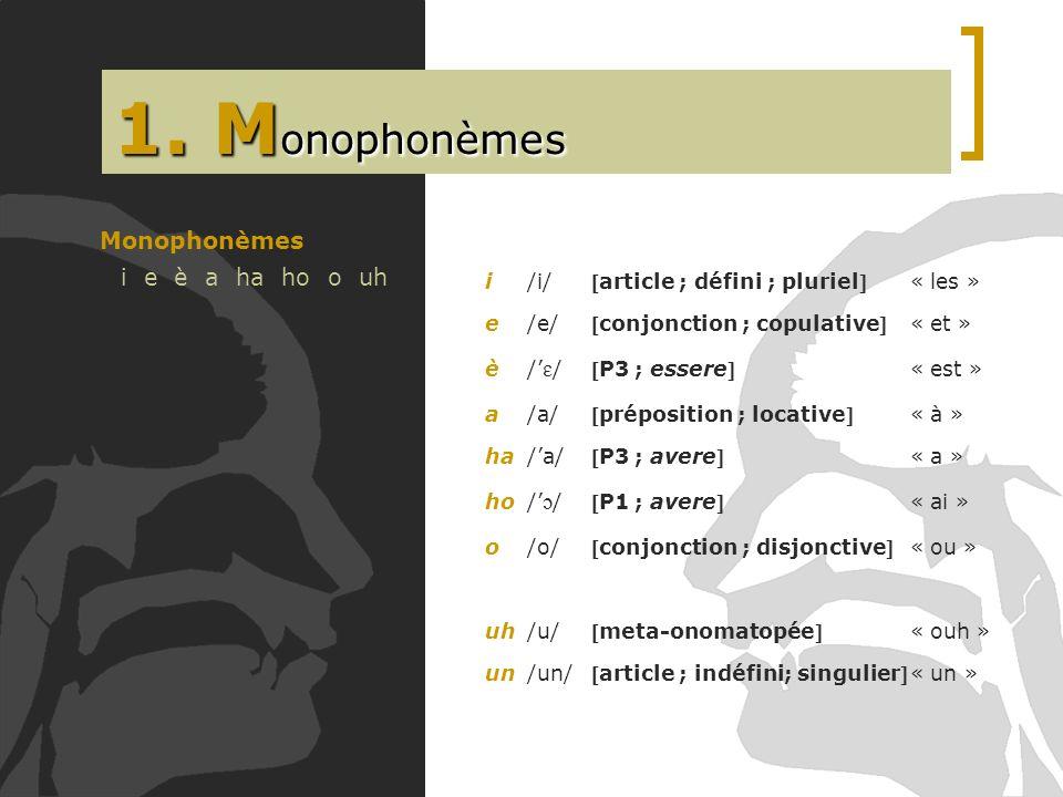 1. M onophonèmes Monophonèmes i e è a ha ho o uh i/i/article ; défini ; pluriel « les » e/e/conjonction ; copulative« et » è/ ɛ /P3 ; essere« est » a/