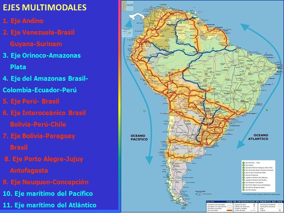 EJES MULTIMODALES 1. Eje Andino 2. Eje Venezuela-Brasil Guyana-Surinam 3.