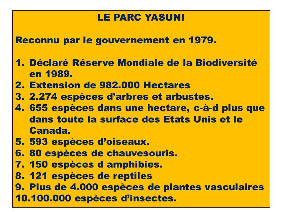 LE PARC YASUNI Reconnu par le gouvernement en 1979.