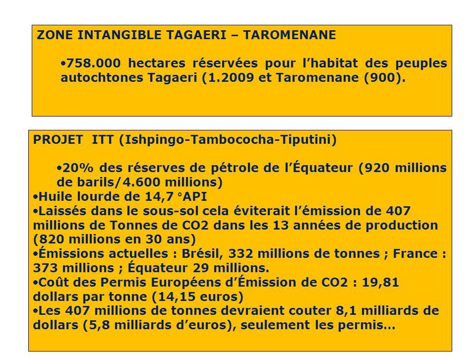 ZONE INTANGIBLE TAGAERI – TAROMENANE 758.000 hectares réservées pour lhabitat des peuples autochtones Tagaeri (1.2009 et Taromenane (900).