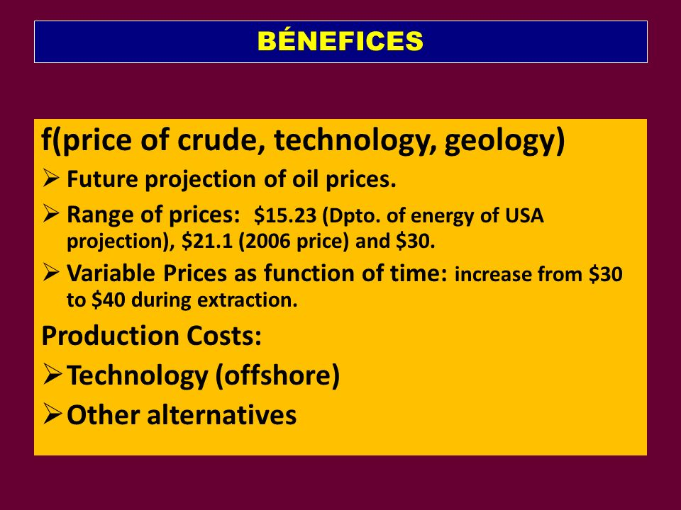BÉNEFICES f(price of crude, technology, geology) Future projection of oil prices.