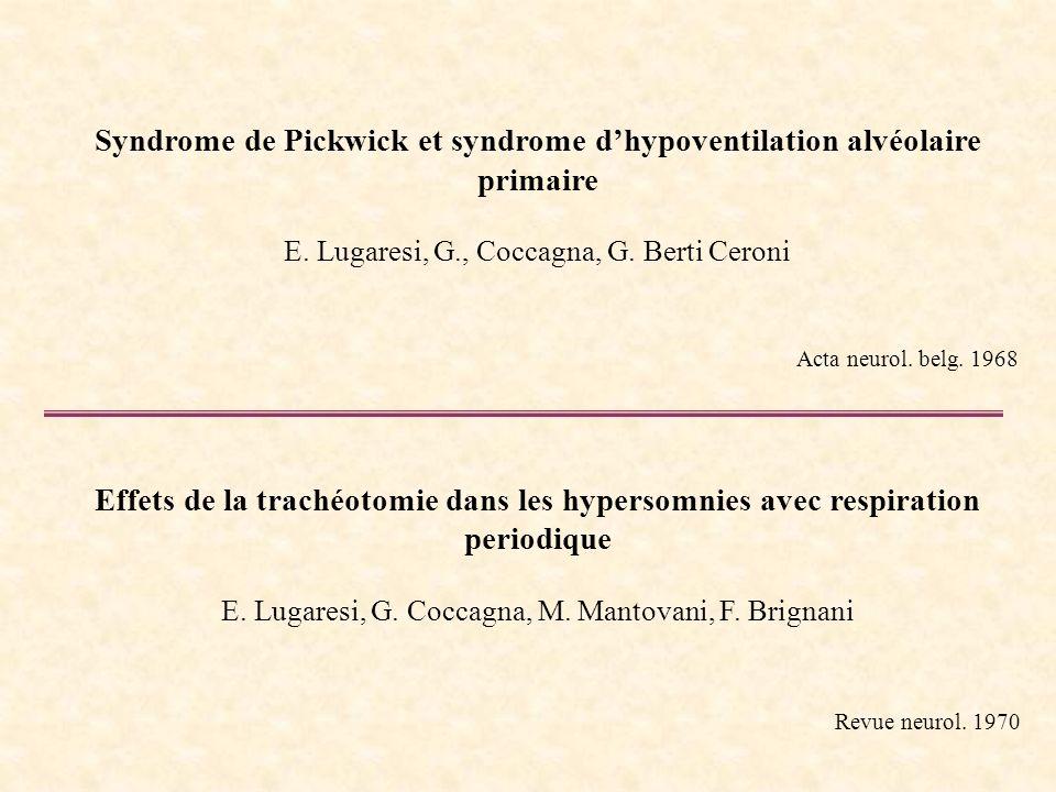 Syndrome de Pickwick et syndrome dhypoventilation alvéolaire primaire E. Lugaresi, G., Coccagna, G. Berti Ceroni Acta neurol. belg. 1968 Effets de la