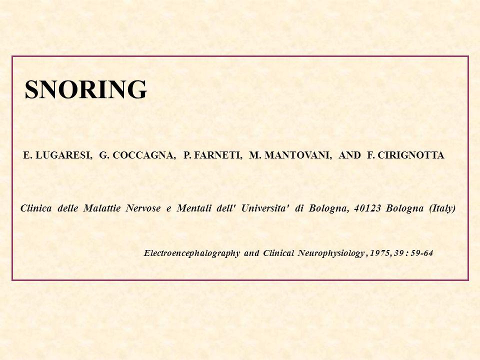 SNORING E. LUGARESI, G. COCCAGNA, P. FARNETI, M. MANTOVANI, AND F. CIRIGNOTTA Clinica delle Malattie Nervose e Mentali dell' Universita' di Bologna, 4