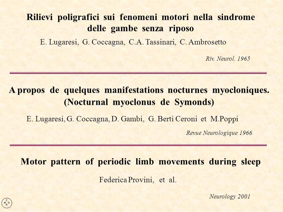 Rilievi poligrafici sui fenomeni motori nella sindrome delle gambe senza riposo E. Lugaresi, G. Coccagna, C.A. Tassinari, C. Ambrosetto Riv. Neurol. 1