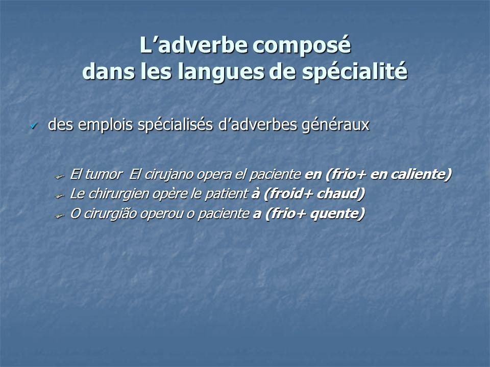 Ladverbe composé dans les langues de spécialité des emplois spécialisés dadverbes généraux des emplois spécialisés dadverbes généraux El tumor El ciru
