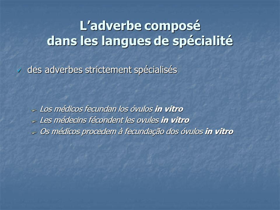 Ladverbe composé dans les langues de spécialité des adverbes strictement spécialisés des adverbes strictement spécialisés Los médicos fecundan los óvu
