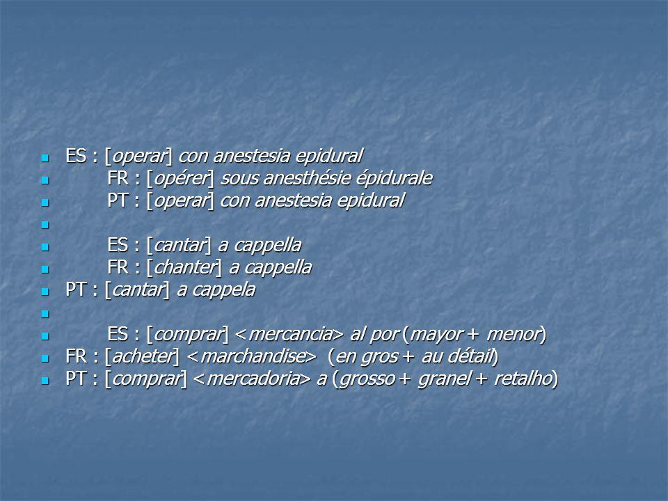 ES : [operar] con anestesia epidural ES : [operar] con anestesia epidural FR : [opérer] sous anesthésie épidurale FR : [opérer] sous anesthésie épidur