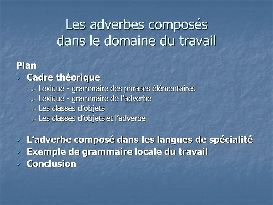 Les adverbes composés dans le domaine du travail Plan Cadre théorique Cadre théorique Lexique - grammaire des phrases élémentaires Lexique - grammaire