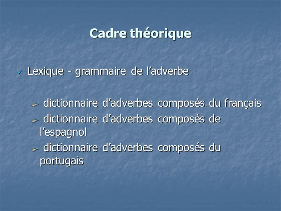 Cadre théorique Lexique - grammaire de ladverbe Lexique - grammaire de ladverbe dictionnaire dadverbes composés du français dictionnaire dadverbes com
