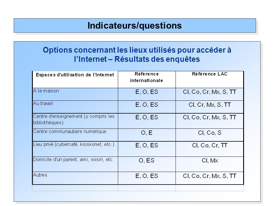 Options concernant les lieux utilisés pour accéder à lInternet – Résultats des enquêtes