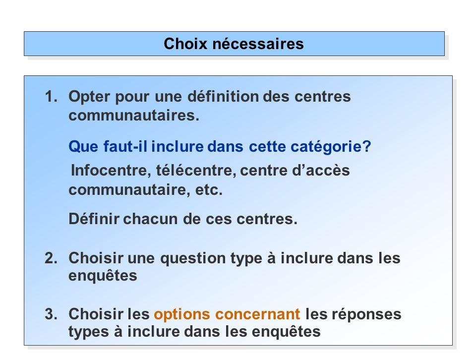 1.Opter pour une définition des centres communautaires. Que faut-il inclure dans cette catégorie? Infocentre, télécentre, centre daccès communautaire,