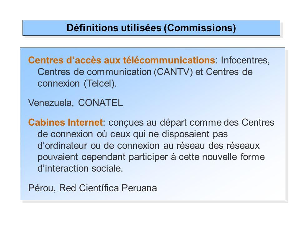 Centres daccès aux télécommunications: Infocentres, Centres de communication (CANTV) et Centres de connexion (Telcel). Venezuela, CONATEL Cabines Inte