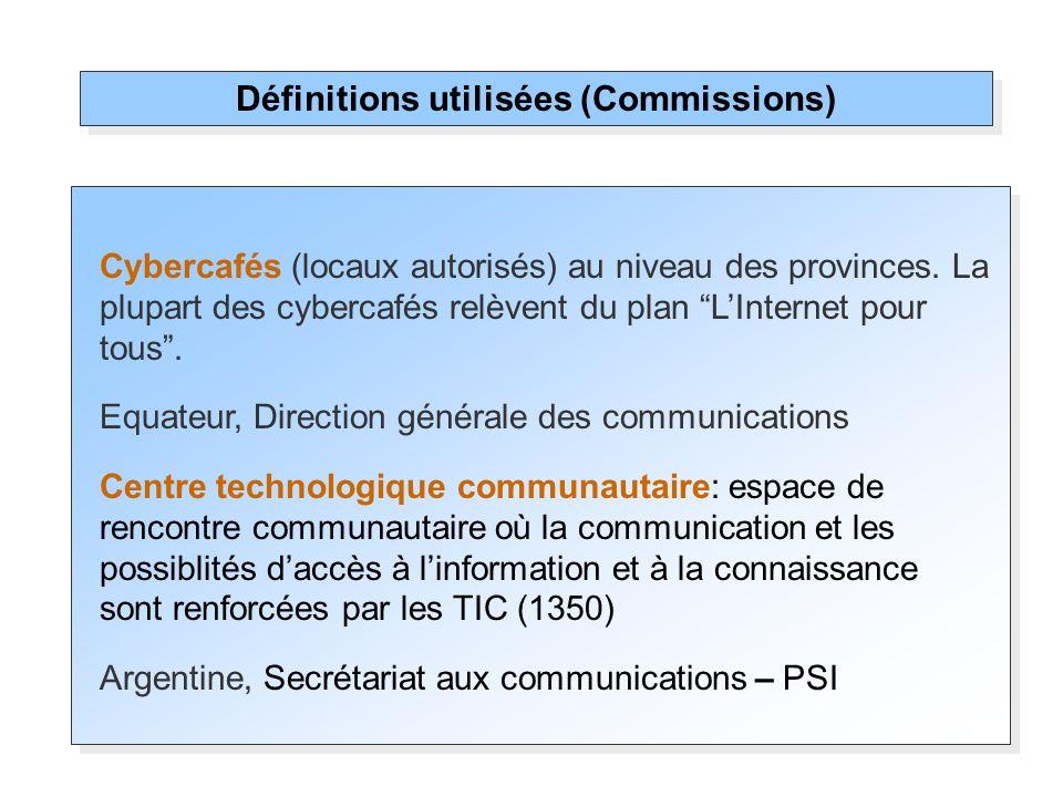 Cybercafés (locaux autorisés) au niveau des provinces. La plupart des cybercafés relèvent du plan LInternet pour tous. Equateur, Direction générale de