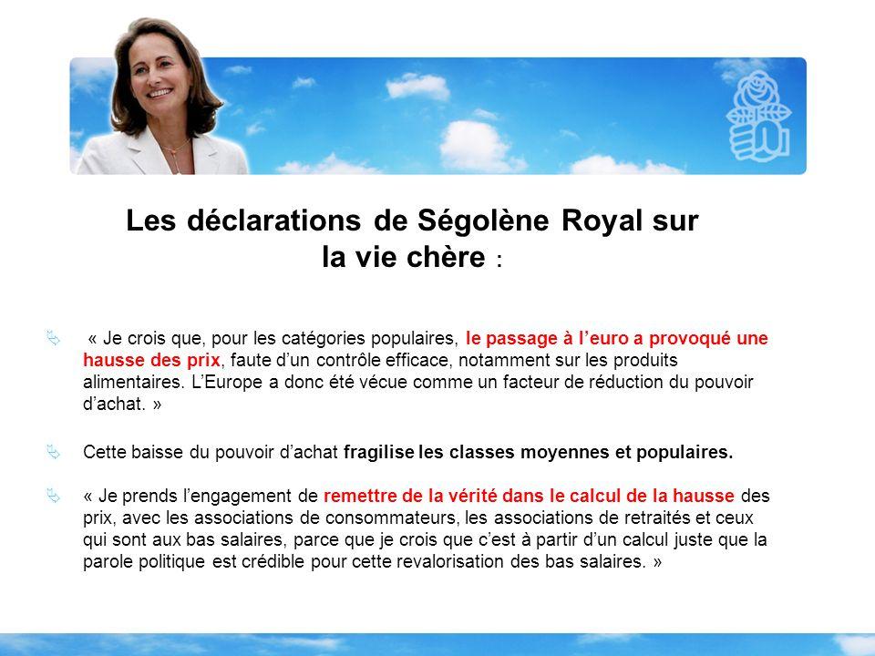 Les déclarations de Ségolène Royal sur la vie chère : « Nous avons aujourdhui des familles à revenus moyens qui basculent, petit à petit, dans lendettement, et qui narrivent pas à faire face à des dépenses élémentaires, notamment les dépenses éducatives.