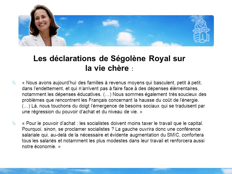 Les déclarations de Ségolène Royal sur la vie chère : « Nous avons aujourdhui des familles à revenus moyens qui basculent, petit à petit, dans lendett