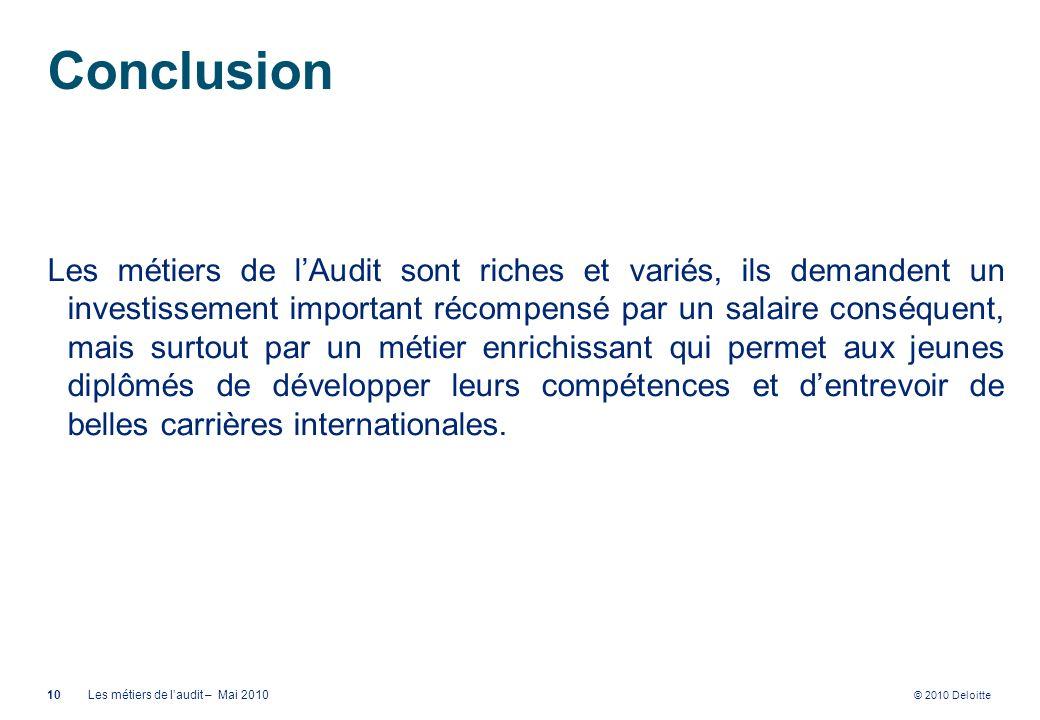© 2010 Deloitte Conclusion Les métiers de lAudit sont riches et variés, ils demandent un investissement important récompensé par un salaire conséquent