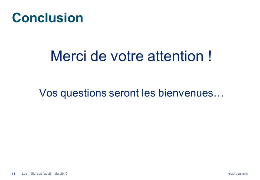 © 2010 Deloitte Conclusion Merci de votre attention ! Vos questions seront les bienvenues… 11Les métiers de laudit – Mai 2010
