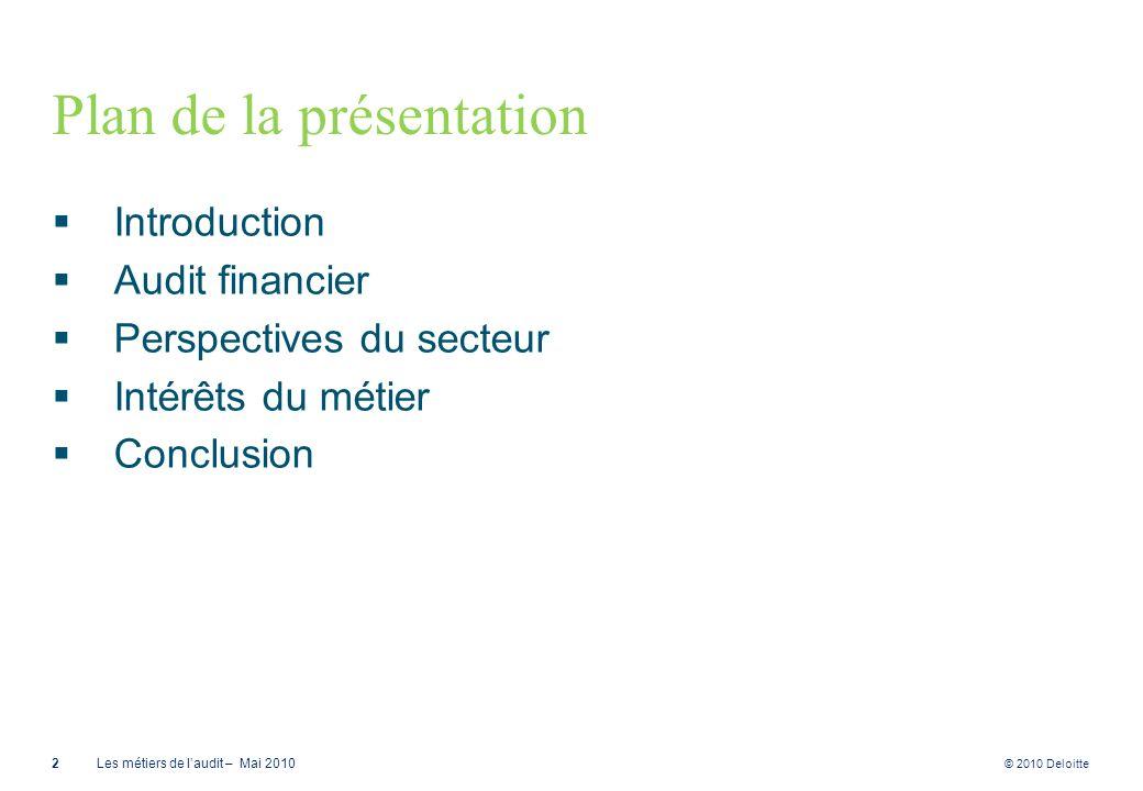 © 2010 Deloitte Plan de la présentation Introduction Audit financier Perspectives du secteur Intérêts du métier Conclusion 2Les métiers de laudit – Ma