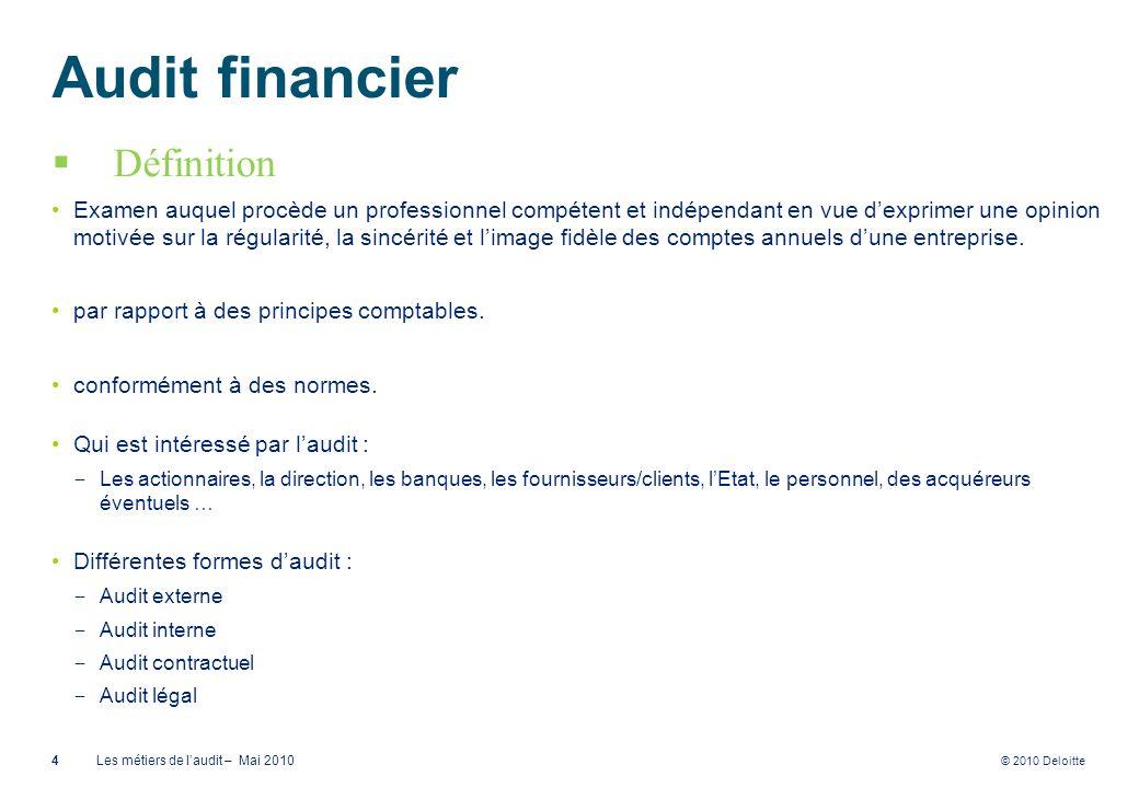 © 2010 Deloitte Audit financier Définition Examen auquel procède un professionnel compétent et indépendant en vue dexprimer une opinion motivée sur la