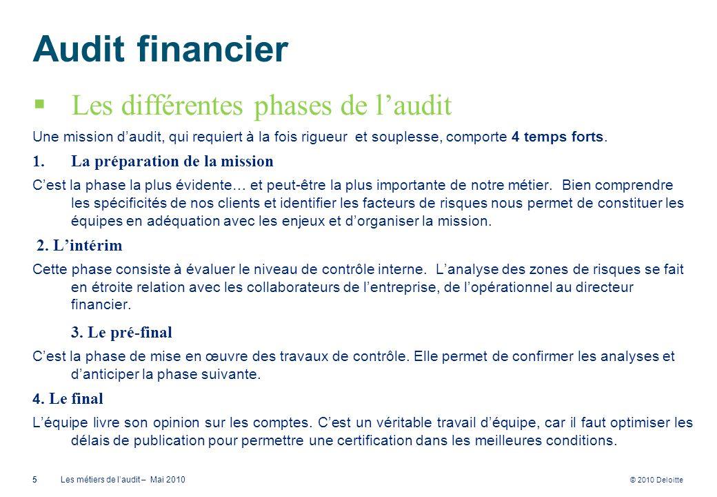 © 2010 Deloitte Audit financier Les différentes phases de laudit Une mission daudit, qui requiert à la fois rigueur et souplesse, comporte 4 temps for