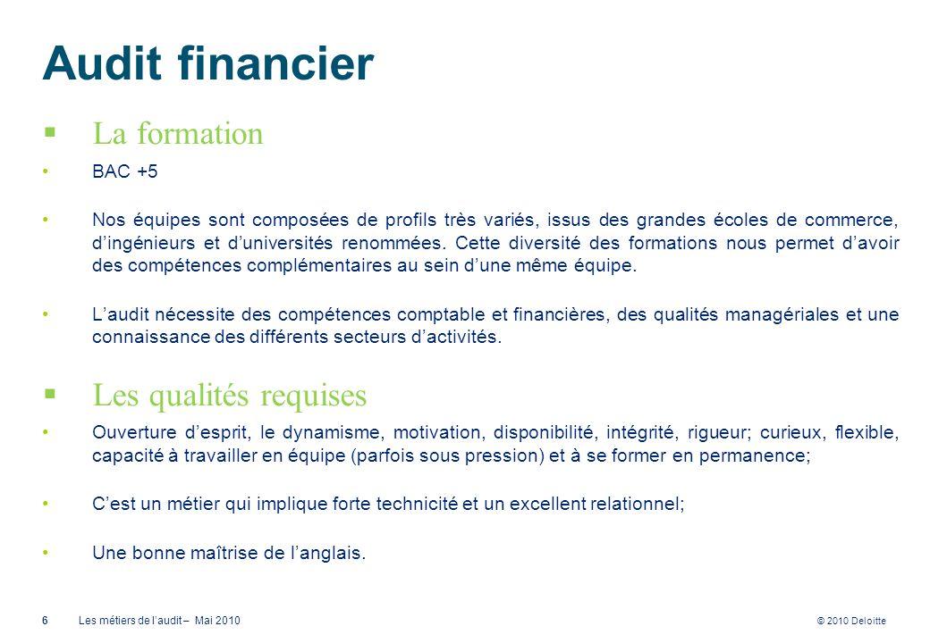 © 2010 Deloitte Audit financier La formation BAC +5 Nos équipes sont composées de profils très variés, issus des grandes écoles de commerce, dingénieu