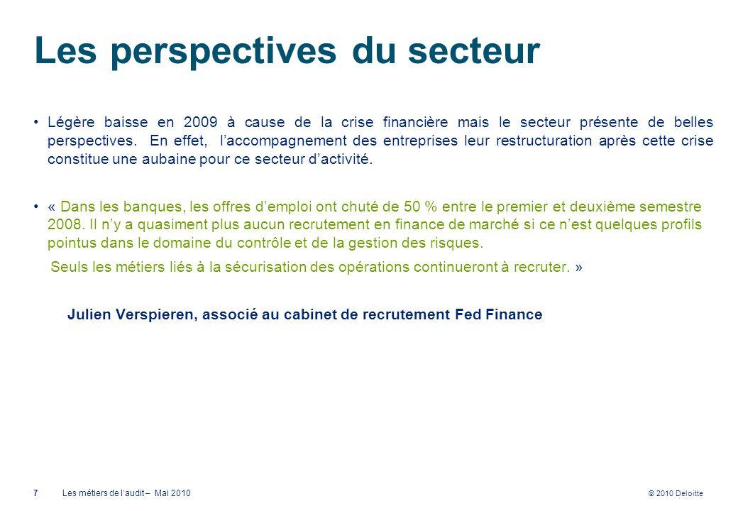 © 2010 Deloitte Les perspectives du secteur Légère baisse en 2009 à cause de la crise financière mais le secteur présente de belles perspectives. En e