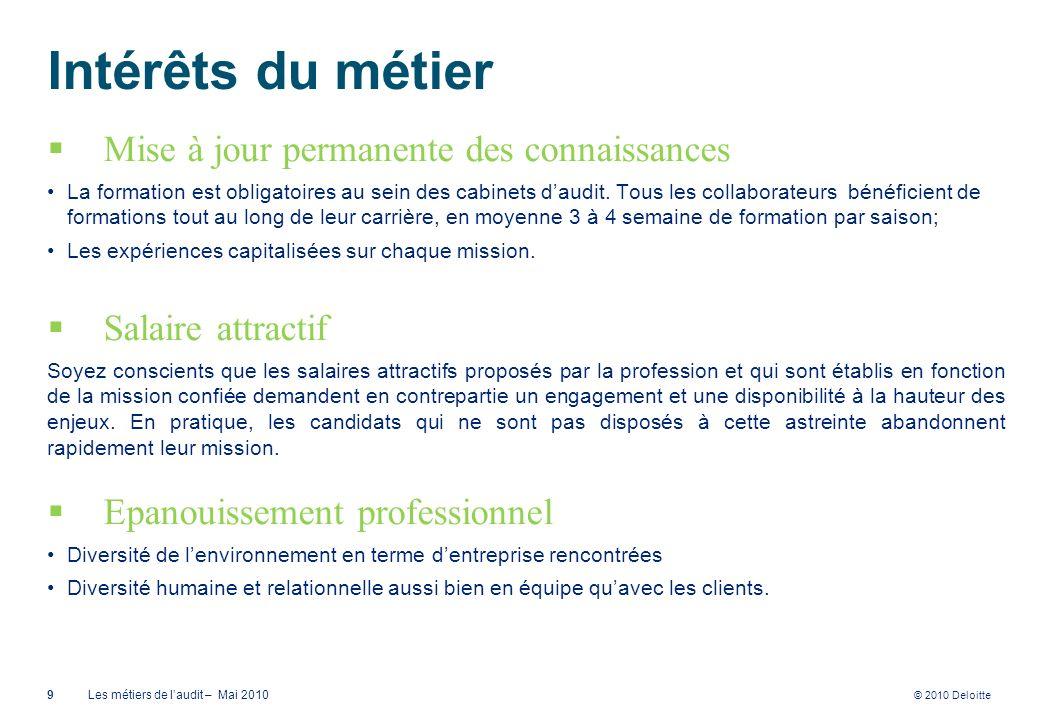 © 2010 Deloitte Intérêts du métier Mise à jour permanente des connaissances La formation est obligatoires au sein des cabinets daudit. Tous les collab