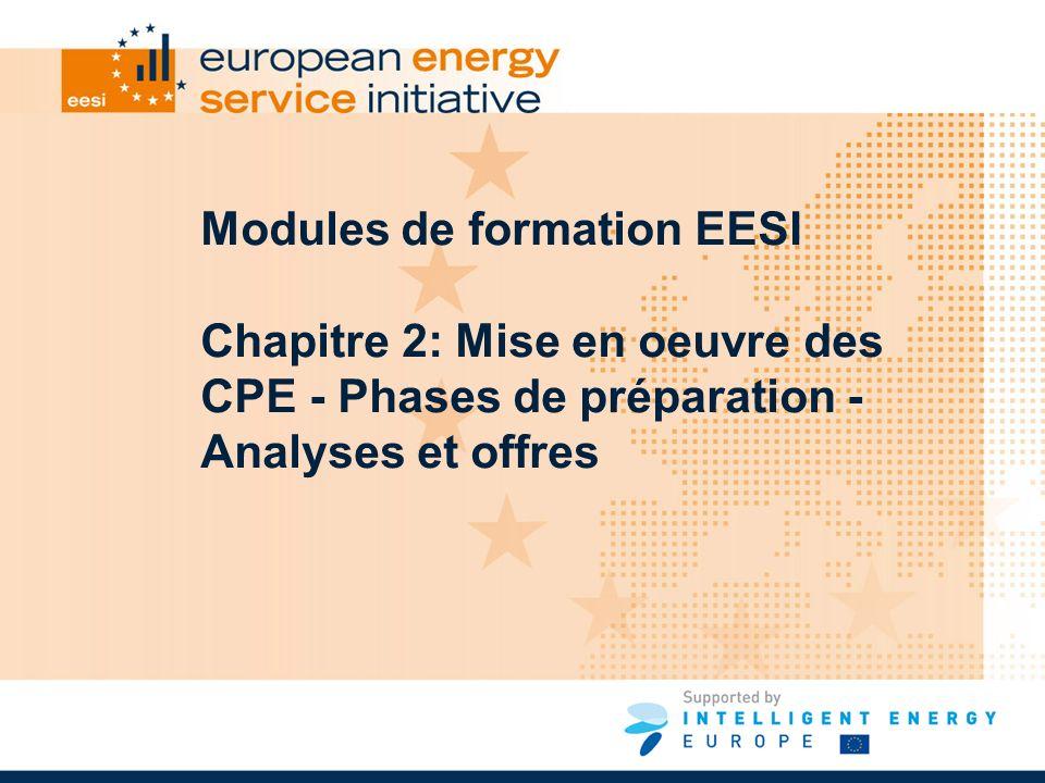 Modules de formation EESI Chapitre 2: Mise en oeuvre des CPE - Phases de préparation - Analyses et offres