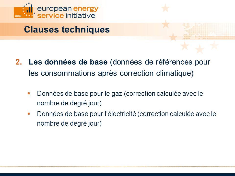 Clauses techniques 2.Les données de base (données de références pour les consommations après correction climatique) Données de base pour le gaz (corre