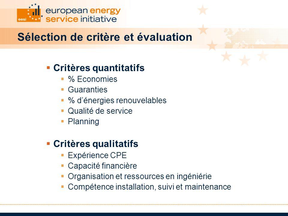 Sélection de critère et évaluation Critères quantitatifs % Economies Guaranties % dénergies renouvelables Qualité de service Planning Critères qualita