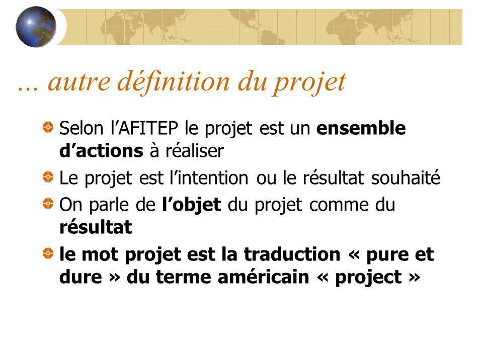... autre définition du projet Selon lAFITEP le projet est un ensemble dactions à réaliser Le projet est lintention ou le résultat souhaité On parle d
