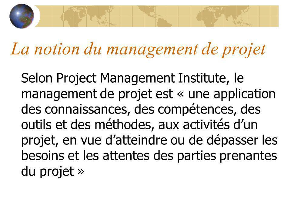 La notion du management de projet Selon Project Management Institute, le management de projet est « une application des connaissances, des compétences