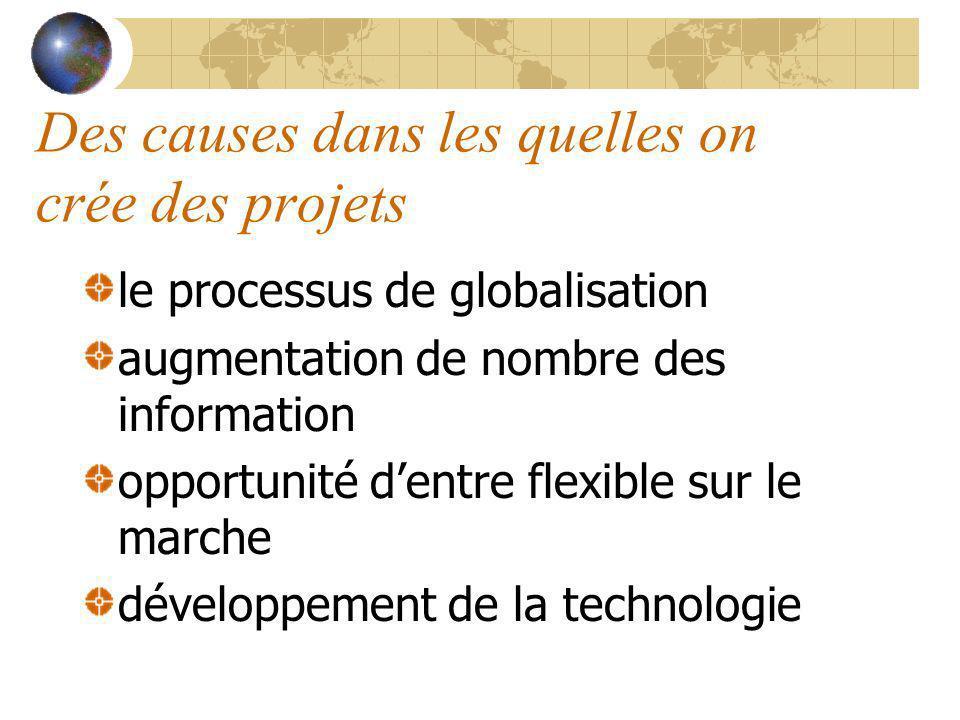 Des causes dans les quelles on crée des projets le processus de globalisation augmentation de nombre des information opportunité dentre flexible sur l