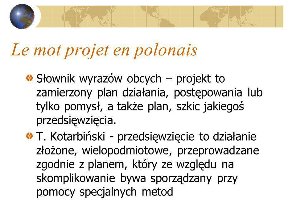 Le mot projet en polonais Słownik wyrazów obcych – projekt to zamierzony plan działania, postępowania lub tylko pomysł, a także plan, szkic jakiegoś p