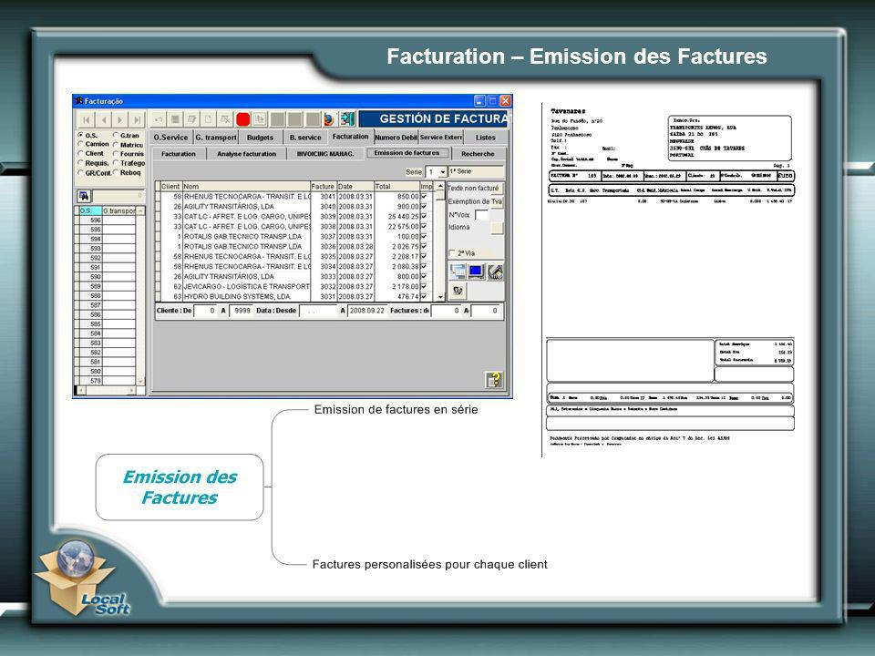 Facturation – Emission des Factures