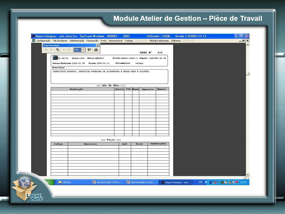 Module Atelier de Gestion – Pièce de Travail